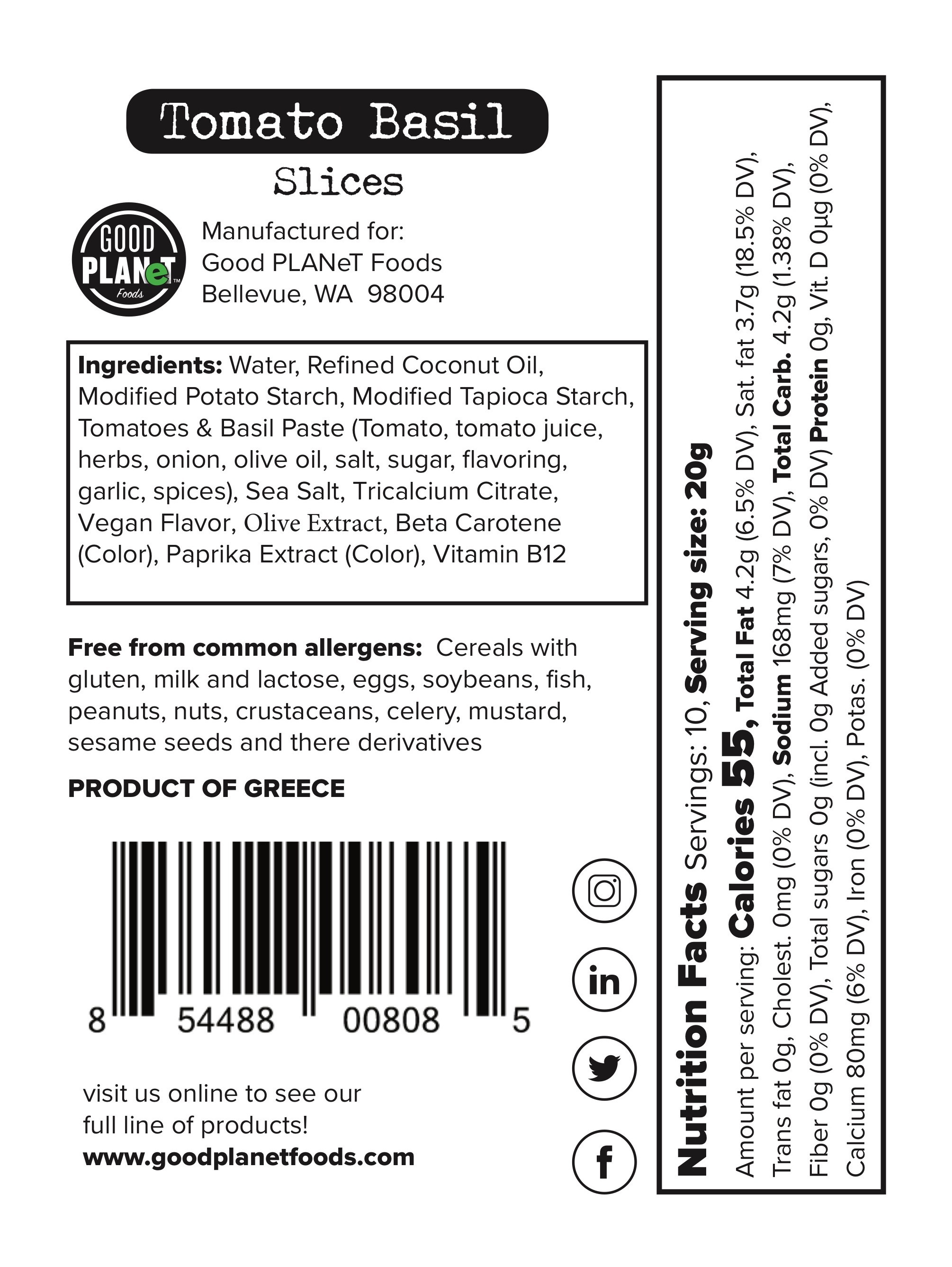 Dairy-free Cheese Tomato Basil Slices | The Natural Products Brands