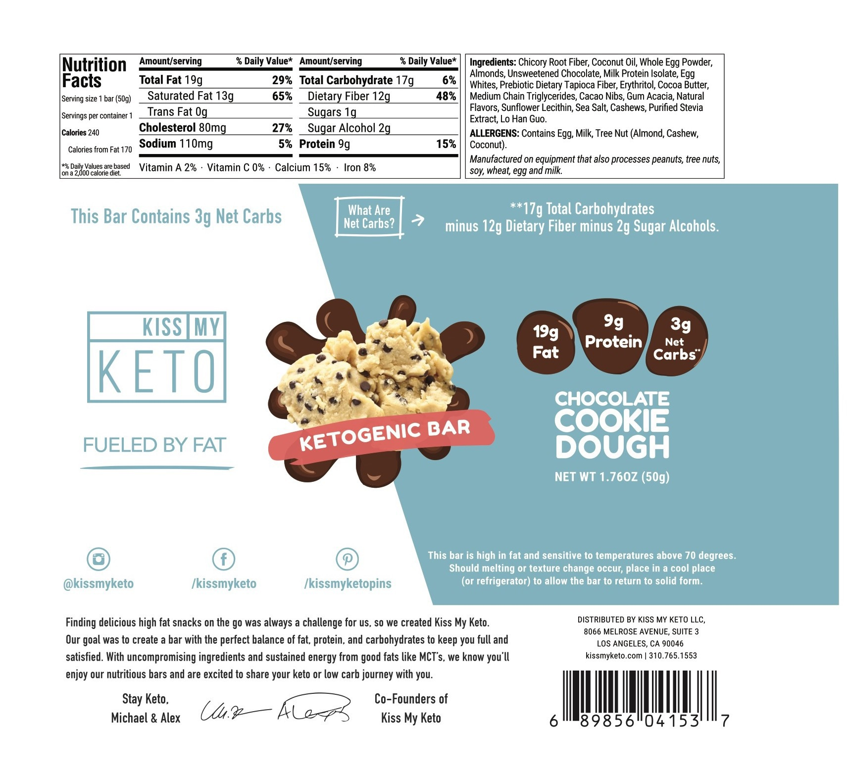 CHOCOLATE COOKIE DOUGH KETOGENIC BAR | The Natural Products