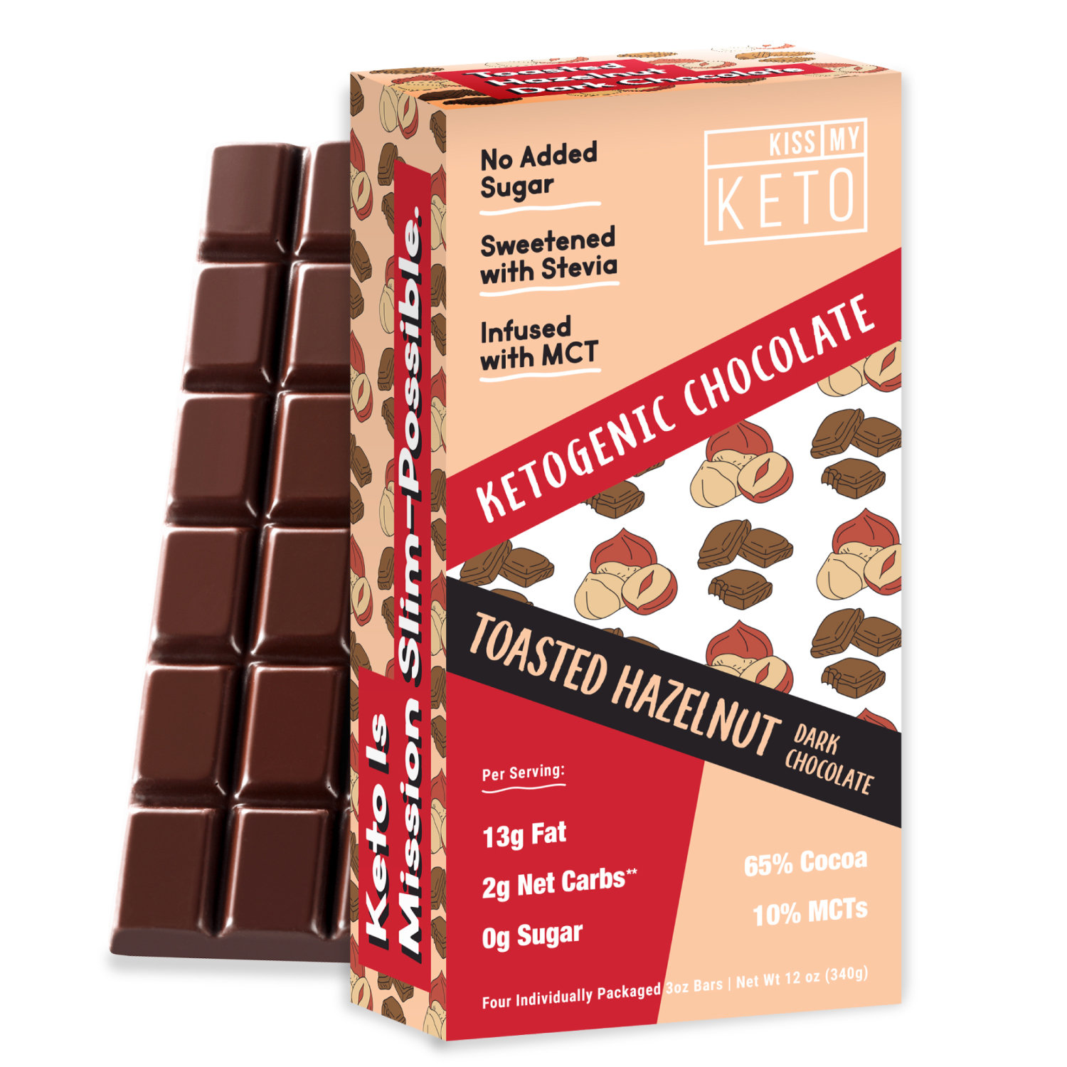 TOASTED HAZELNUT DARK CHOCOLATE KETOGENIC BARS | The Natural