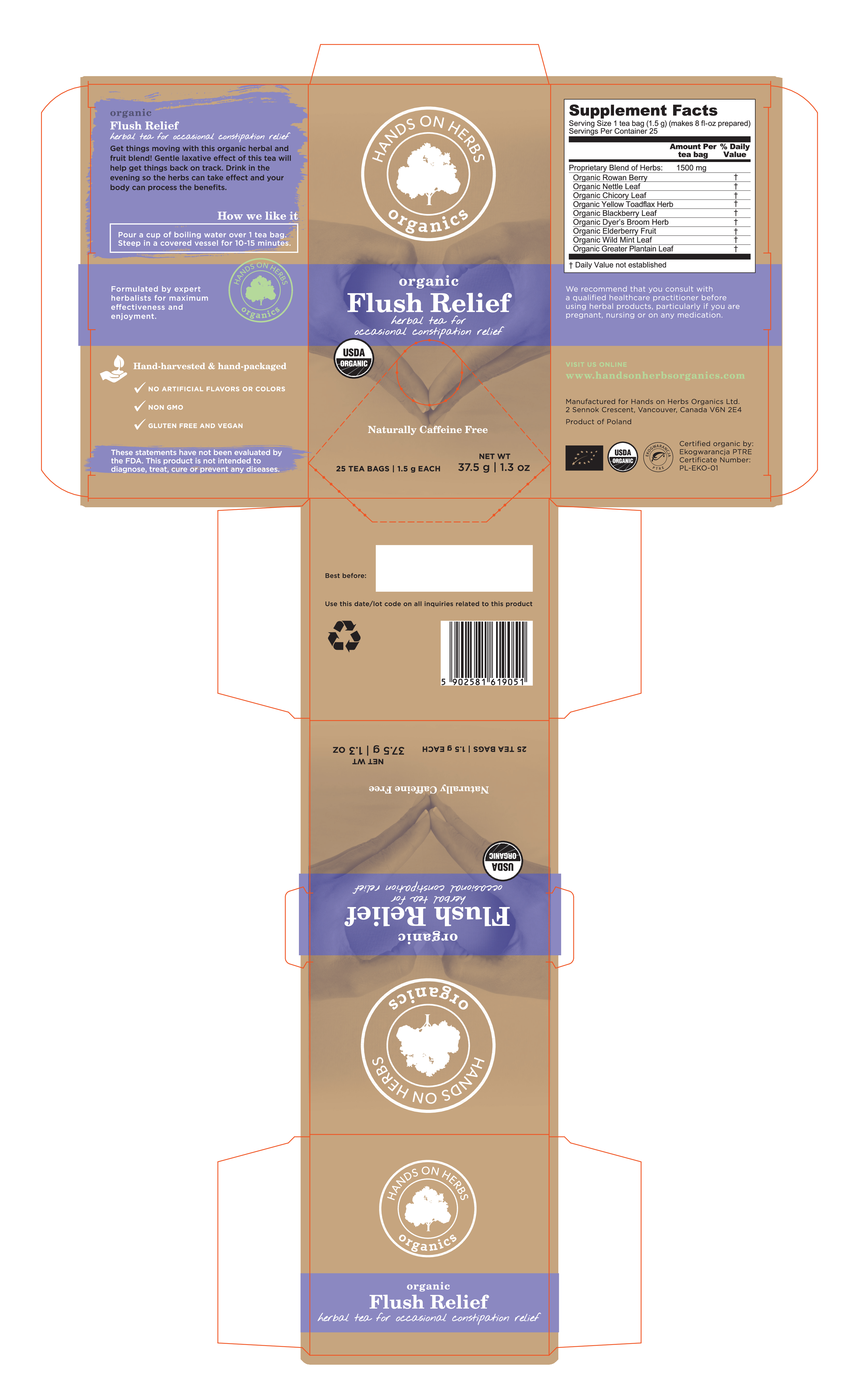 ORGANIC FLUSH RELIEF HERBAL TEA FOR OCCASIONAL CONSTIPATION