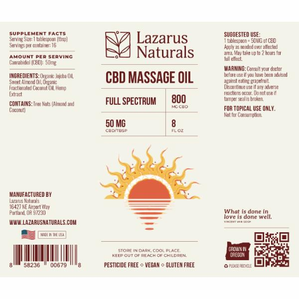 FULL SPECTRUM CBD 800 MG MASSAGE OIL | The Natural Products Brands