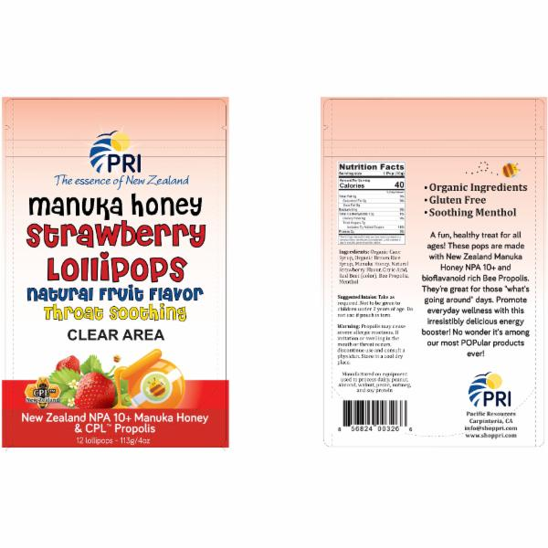 MANUKA HONEY STRAWBERRY LOLLIPOPS NATURAL FRUIT FLAVOR THROAT