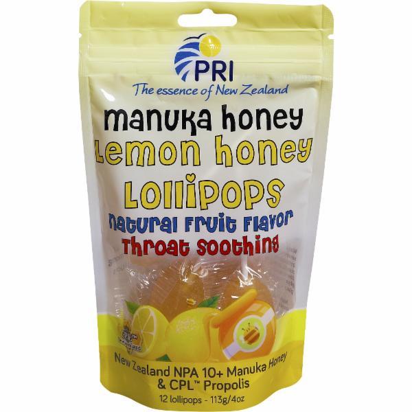 NATURAL FRUIT FLAVOR LEMON MANUKA HONEY THROAT SOOTHING LOLLIPOPS
