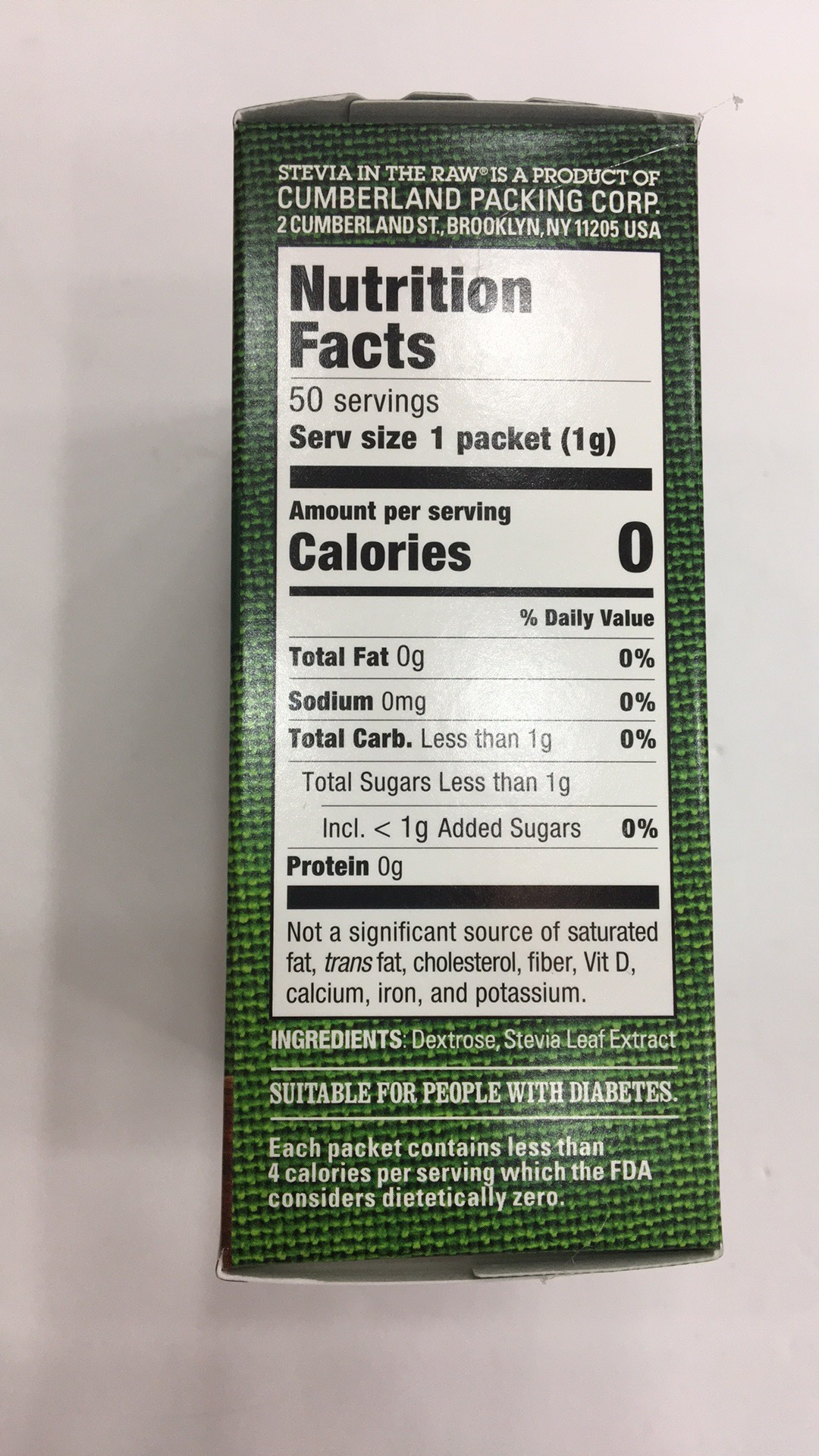 Stevia In The Raw Nutrition Label - Label Ideas