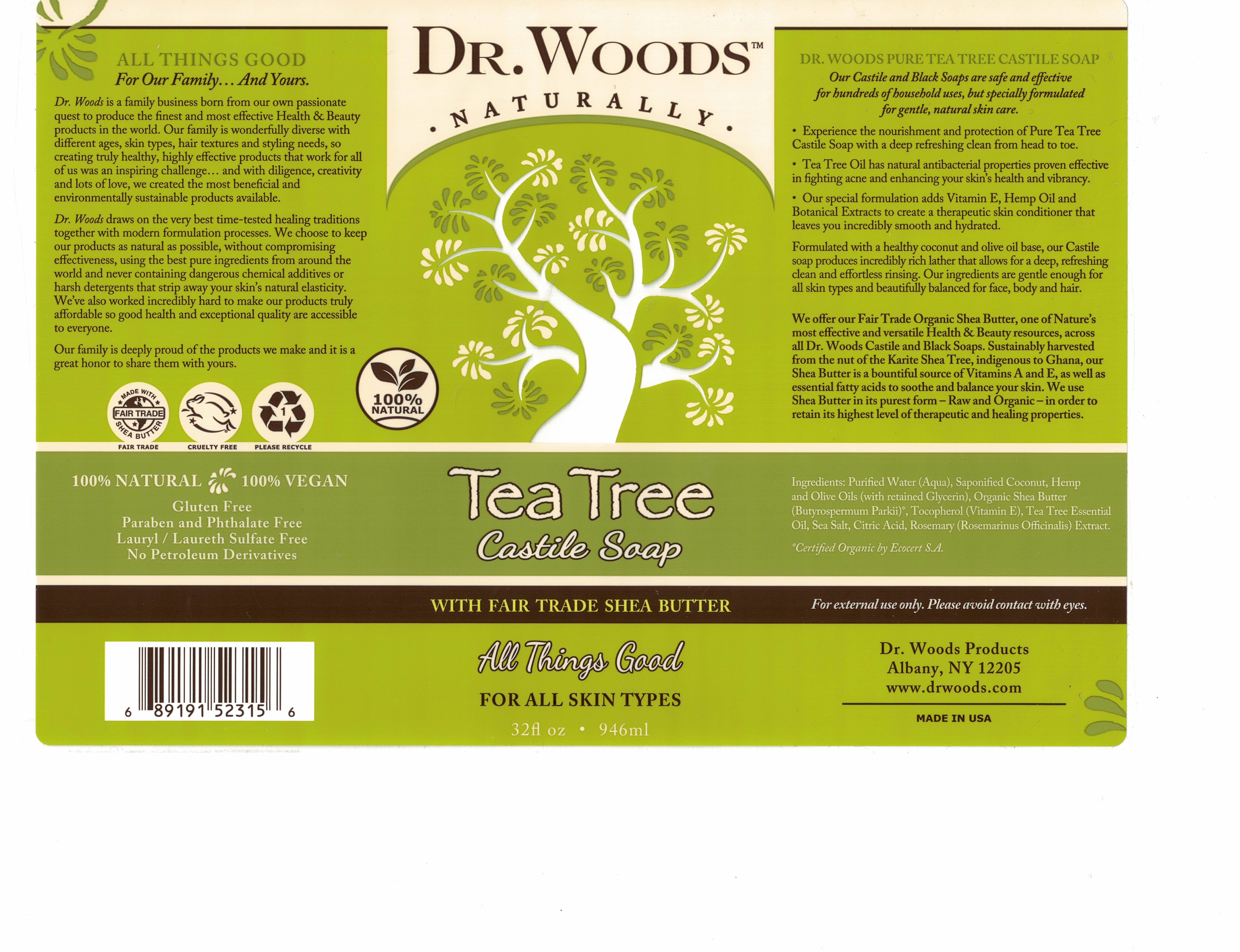 TEA TREE CASTILE SOAP WITH FAIR TRADE SHEA BUTTER FOR ALL