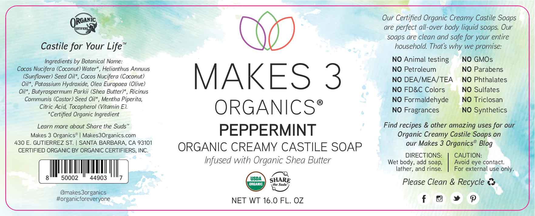ORGANIC CREAMY CASTILE SOAP, PEPPERMINT | The Natural