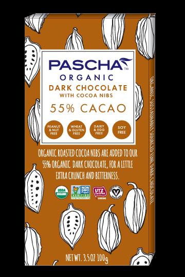 55% CACAO WITH COCOA NIBS 3.5 OZ CHOCOLATE BAR