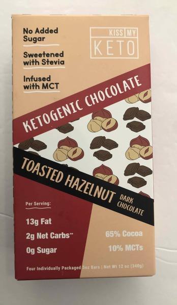 KETOGENIC CHOCOLATE TOASTED HAZELNUT DARK CHOCOLATE BARS