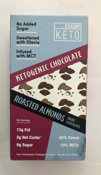 KETOGENIC CHOCOLATE, ROASTED ALMONDS DARK CHOCOLATE
