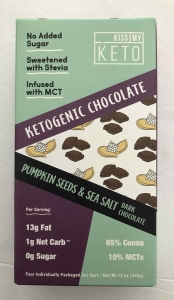 PUMPKIN SEEDS & SEA SALT KETOGENIC DARK CHOCOLATE