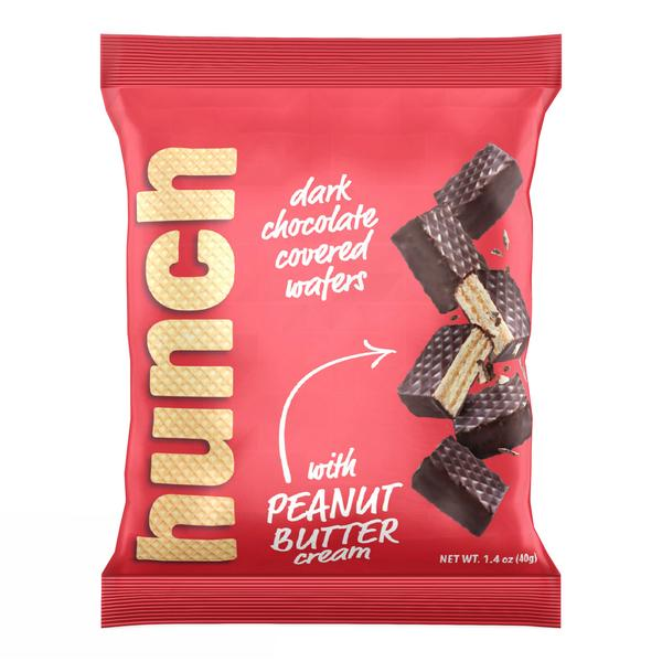 DARK CHOCOLATE COVERED WAFERS WITH PEANUT BUTTER CREAM