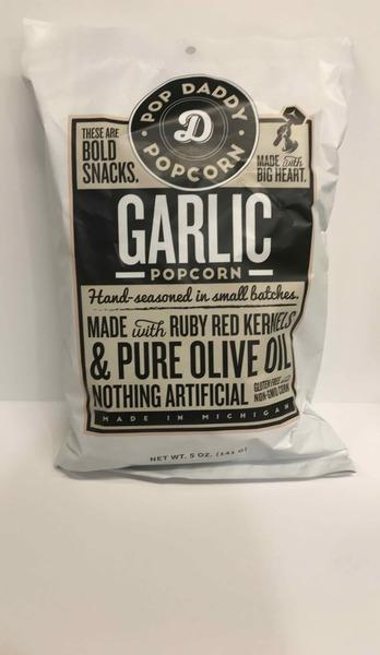 GARLIC POPCORN MADE WITH RUBY RED KERNELS & PURE OLIVE OIL