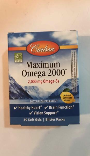 MAXIMUM OMEGA 2000 BLISTER PACKS DIETARY SUPPLEMENT SOFT GELS, NATURAL LEMEON