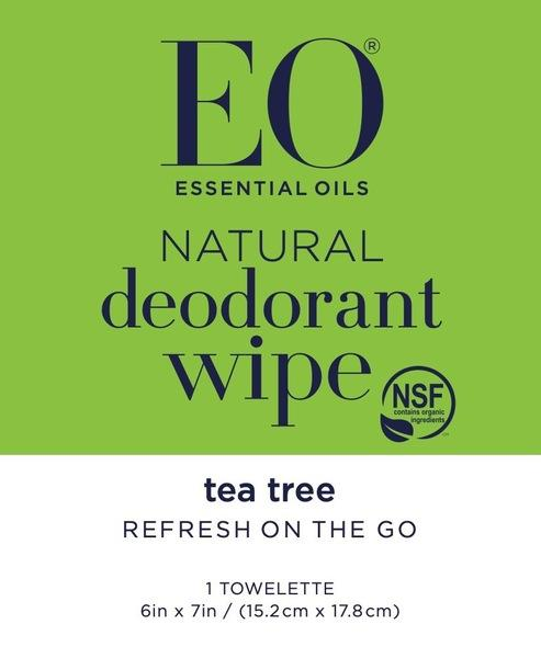 NATURAL DEODORANT WIPE, TEA TREE