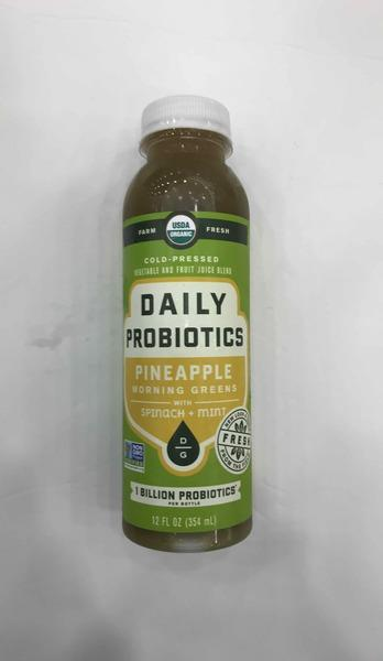 PINEAPPLE MORNING GREENS WITH SPINACH + MINT COLD - PRESSED VEGETABLE AND FRUIT JUICE BLEND