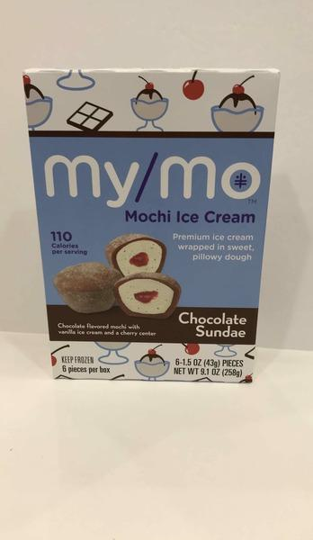 CHOCOLATE FLAVORED MOCHI WITH VANILLA ICE CREAM AND A CHERRY CENTER