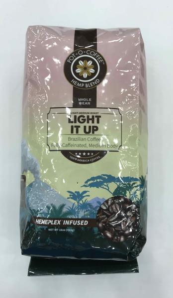 LIGHT-MEDIUM ROAST WHOLE BEAN HEMP BLEND BRAZILIAN 100% ARABICA COFFEE