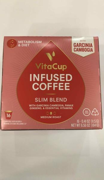 MEDIUM ROAST SLIM BLEND WITH GARCINIA CAMBOGIA, PANAX GINSENG, ESSENTIAL VITAMINS INFUSED COFFEE
