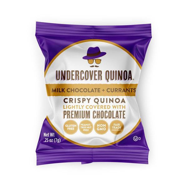 MILK CHOCOLATE + CURRANTS CRISPY QUINOA LIGHTLY COVERED WITH PREMIUM CHOCOLATE