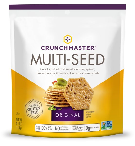 ORIGINAL MULTI-SEED CRUNCHY, BAKED CRACKERS WITH SESAME, QUINOA, FLAX AND AMARANTH SEEDS WITH A RICH AND SAVORY TASTE