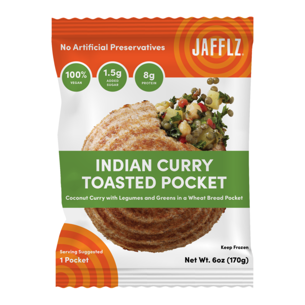 INDIAN CURRY COCONUT CURRY WITH LEGUMES AND GREENS IN A WHEAT BREAD TOASTED POCKET
