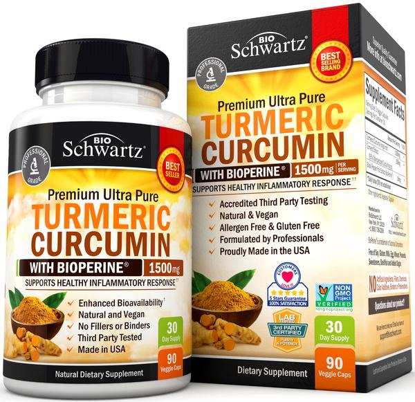 PREMIUM ULTRA PURE TURMERIC CURCUMIN WITH BIOPERINE 1500 MG NATURAL DIETARY SUPPLEMENT VEGGIE CAPS