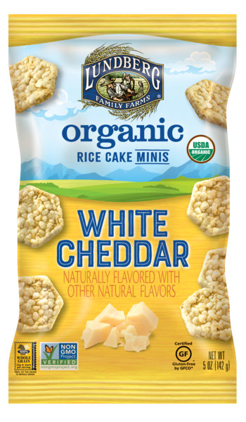 WHITE CHEDDAR FLAVORED ORGANIC RICE CAKE MINIS
