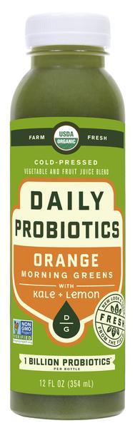 ORANGE MORNING GREENS KALE + LEMON COLD - PRESSED VEGETABLE AND FRUIT JUICE BLEND