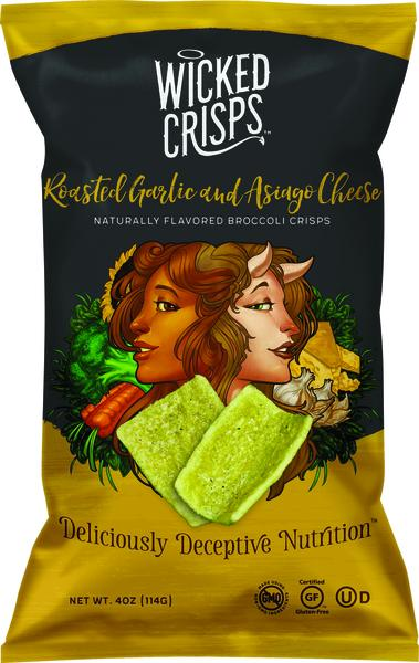 ROASTED GARLIC AND ASIAGO CHEESE BROCCOLI CRISPS