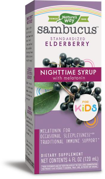 NIGHTTIME SYRUP WITH MELATONIN DIETARY SUPPLEMENT FOR KIDS, ELDERBERRY