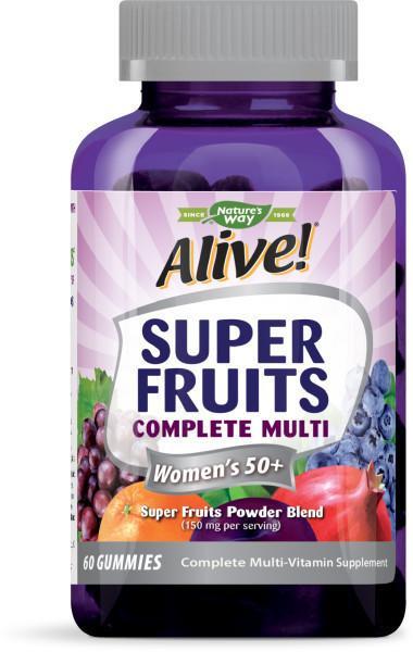 SUPER FRUITS COMPLETE MULTI WOMEN'S 50+ COMPLETE MULTI-VITAMIN SUPPLEMENT GUMMIES SUPER FRUITS POWDER BLEND