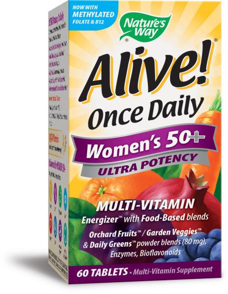 WOMEN'S 50+ ULTRA POTENCY ENERGIZER WITH FOOD-BASED BLENDS MULTI-VITAMIN SUPPLEMENT TABLETS