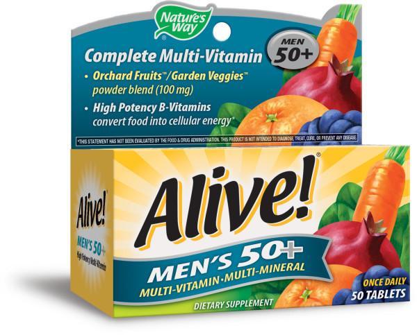 MEN'S 50+ MULTI-VITAMIN MULTI-MINERAL DIETARY SUPPLEMENT TABLETS ORCHARD FRUITS / GARDEN VEGGIES