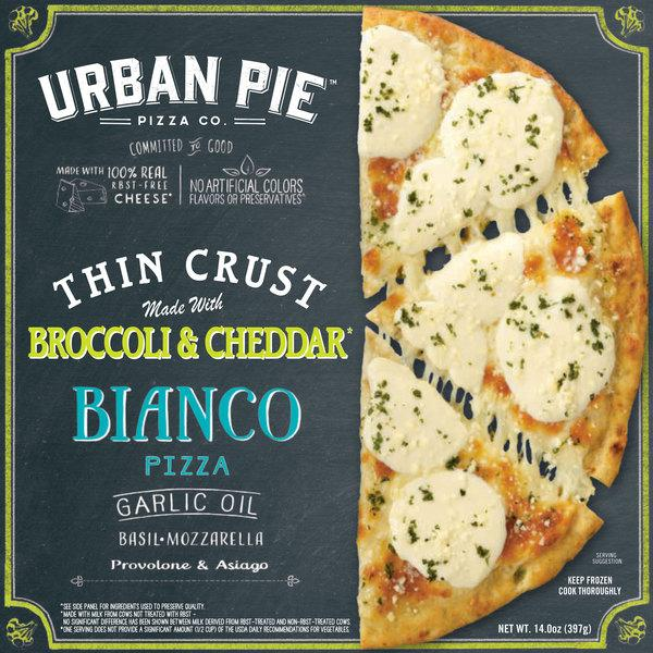 BIANCO GARLIC OIL, BASIL, MOZZARELLA, PROVOLONE & ASIAGO THIN CRUST PIZZA