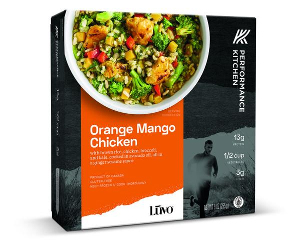 ORANGE MANGO CHICKEN WITH BROWN RICE, WHITE CHICKEN, BROCCOLI, AND KALE, COOKED IN AVOCADO OIL, ALL IN A GINGER SESAME SAUCE.