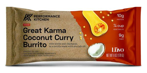 GREAT KARMA COCONUT CURRY BURRITO WITH LENTILS AND CHICKPEAS, IN A TORTILLA MADE WITH AVOCADO OIL
