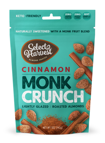 CINNAMON MONK CRUNCH LIGHTLY GLAZED ROASTED ALMONDS SNACKS