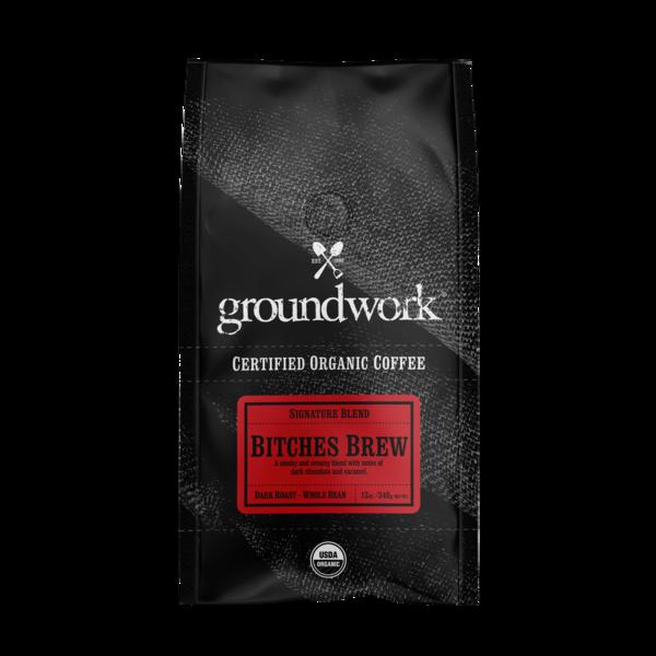 DARK ROAST BITCHES BREW SIGNATURE BLEND ORGANIC ARABICA WHOLE BEAN COFFEE