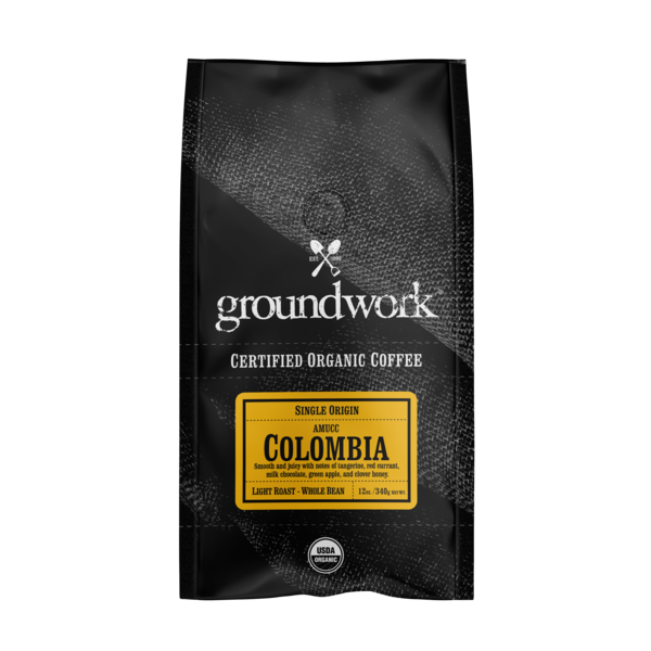 LIGHT ROAST COLOMBIA SINGLE ORIGIN WHOLE BEAN ORGANIC COFFEE
