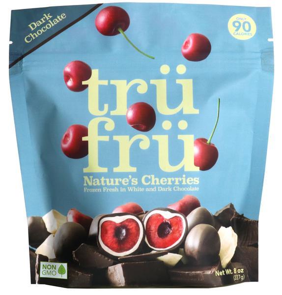 DARK CHOCOLATE NATURE'S CHERRIES FROZEN FRESH IN WHITE & DARK CHOCOLATE