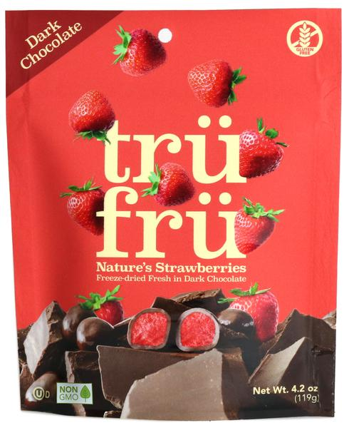 DARK CHOCOLATE 54% CACAO NATURE'S STRAWBERRIES HYPER-DRIED FRESH IN DARK CHOCOLATE