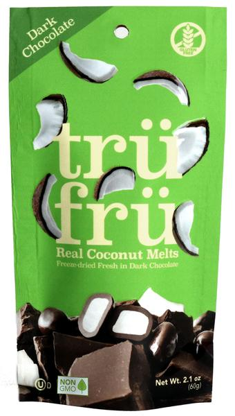 DARK CHOCOLATE 54% CACAO REAL COCONUT MELTS HYPER-DRIED FRESH IN DARK CHOCOLATE