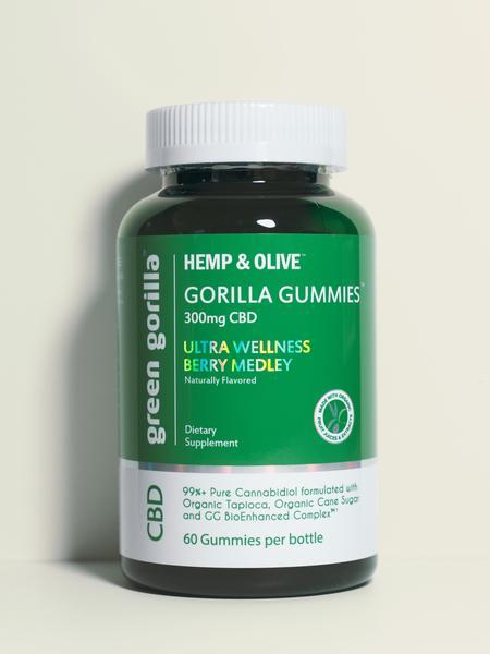 HEMP & OLIVE 300MG CBD DIETARY SUPPLEMENT GORILLA GUMMIES, ULTRA WELLNESS BERRY MEDLEY