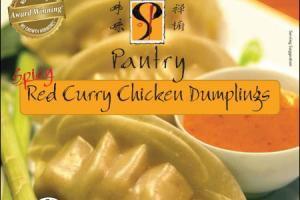 Spicy Thai Red Curry Chicken Dumplings