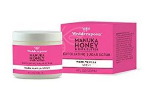 Manuka Honey & Shea Butter Exfoliating Sugar Scrub, Warm Vanilla Scent