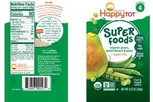 Organic Pears, Green Beans & Peas