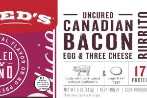 Canadian Bacon Egg & Three Cheese Burrito
