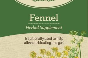 ORGANIC TRADITIONALLY USED TO HELP ALLEVIATE BLOATING AND GAS HERBAL SUPPLEMENT TEA BAGS, FENNEL