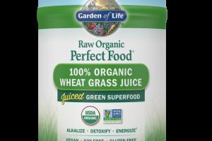 RAW Organic Perfect Food 100% Organic Wheat Grass Juice