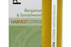 HARVEST CITRUS ESSENTIAL OIL PERFUME ROLLER, BERGAMOT & SANDALWOOD